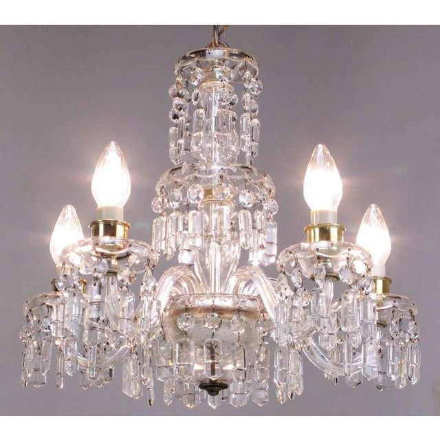 Traditional Circa 1940s Lightolier Cut-Crystal Five Arm Chandelier For Sale - Image 3 of 9