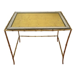 1950s Mid Century Brass Faux Bamboo Side Table For Sale
