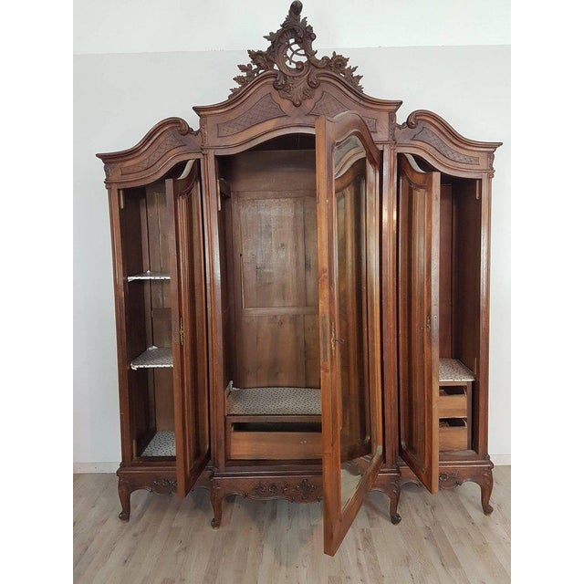 Brown 19th Century Italian Louis XV Rococò Style Wood Carved Bedroom Set For Sale - Image 8 of 13