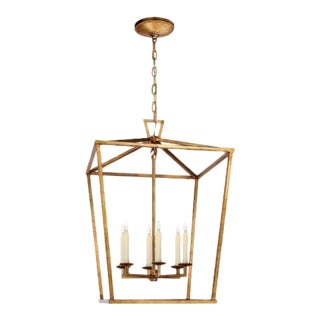 Visual Comfort Chapman & Myers Casual Darlana Large Lantern in Gilded Iron For Sale