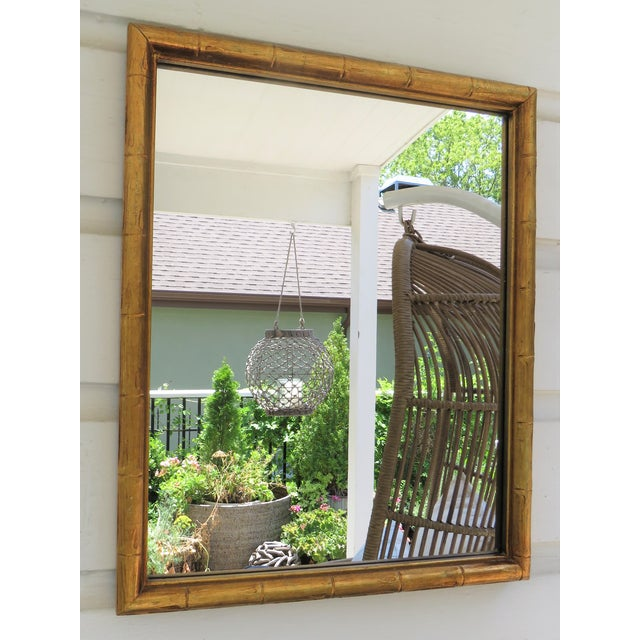 Vintage Palm Beach Style Gilt Faux Bamboo Rectangular Mirror For Sale - Image 10 of 13