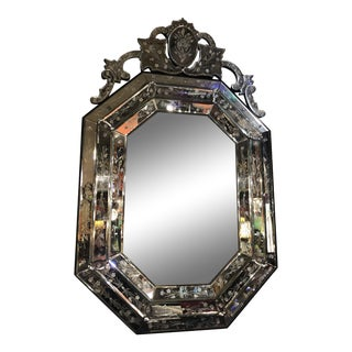Hollywood Regency Venetian Glass Etched Wall Mirror For Sale