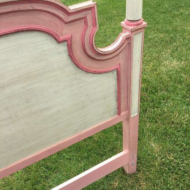 Wood John Widdicomb Painted Pink Twin Bed Headboards - A Pair For Sale - Image 7 of 9