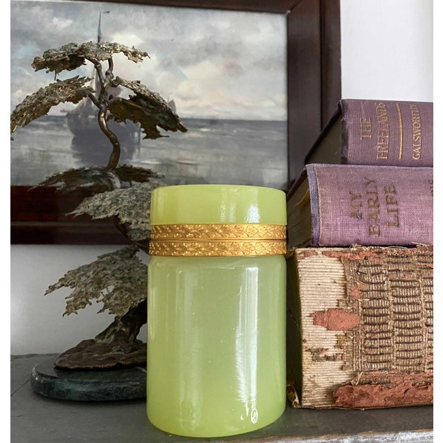 French Antique Pale Green Opaline Box With Gilt Trim For Sale - Image 3 of 5