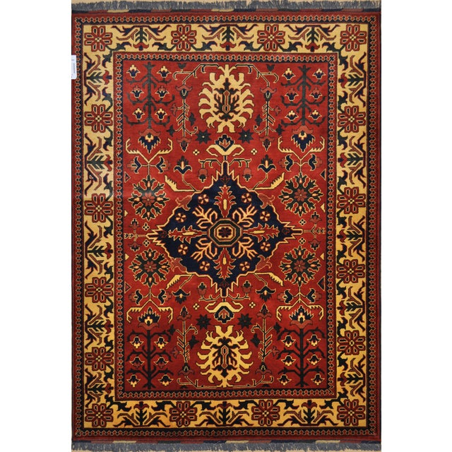"Traditional Bokhara Floral Design Hand Knotted Wool Area Rug - 5'3"" X 7'3"" For Sale - Image 4 of 4"