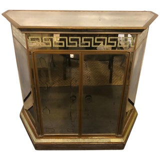 Mid-Century Modern Greek Key Design All Mirrored Bar For Sale