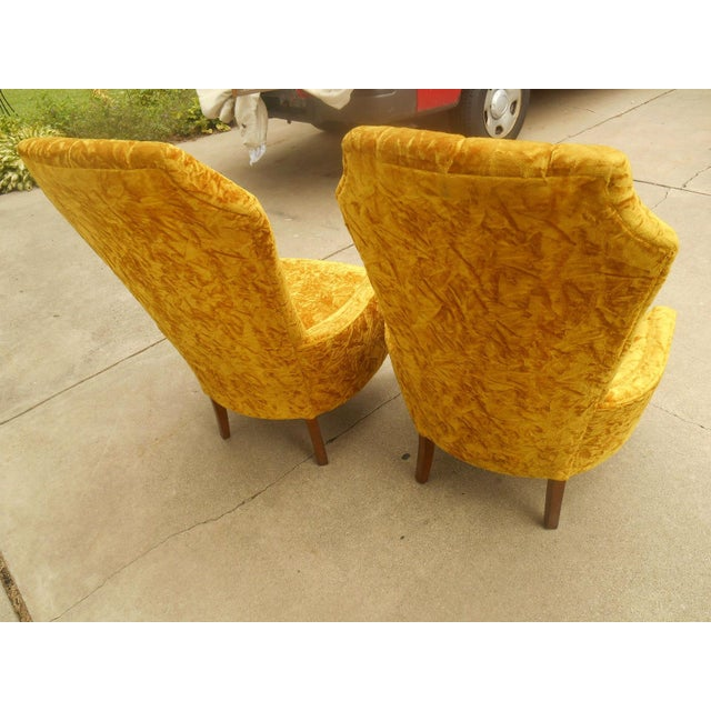 Hollywood Regency High Back Tufted Chairs - A Pair - Image 7 of 8