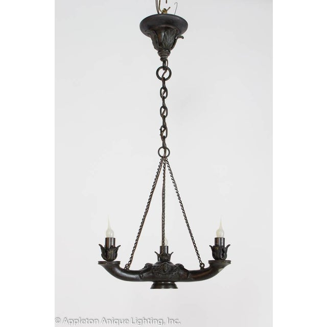 Restored Bronze Three Arm Whale Oil Chandelier For Sale - Image 4 of 10