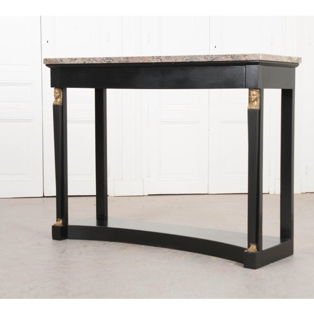 French 19th Century Empire Style Marble Top Ebonized Console For Sale - Image 11 of 12