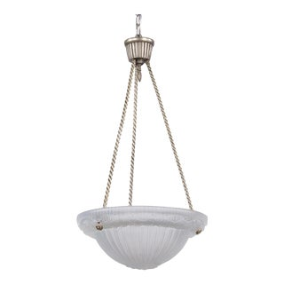 1930s Art Deco Frosted Glass and Nickel Pendant For Sale