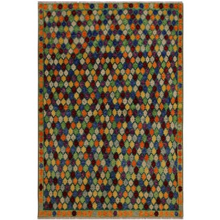 "Balouchi Annemari Green/Orange Wool Rug - 5'6"" X 7'10"" For Sale"