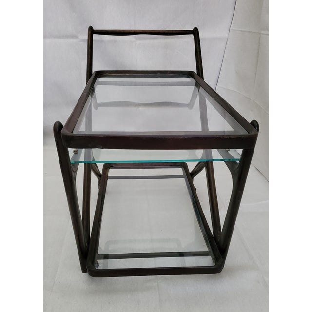 1950s Italian Mid-Century Modern Serving Bar Cart - in Manner of Ico Parisi For Sale In Austin - Image 6 of 12
