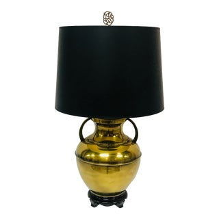 Brass Urn Lamp With Black Shade