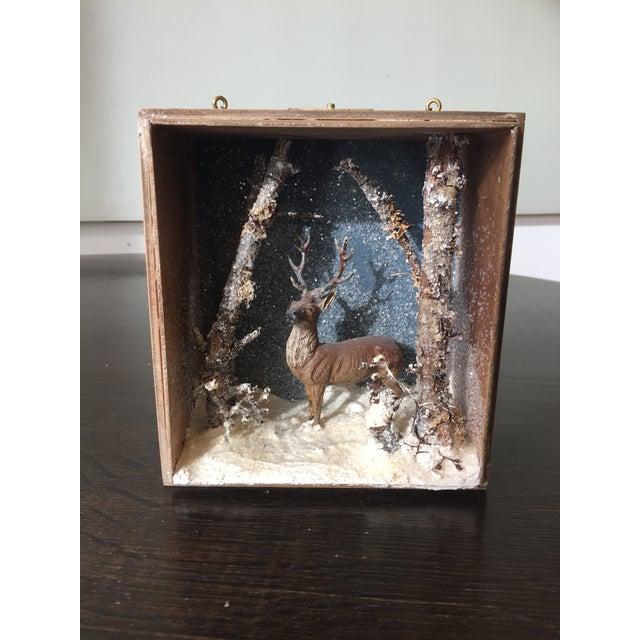 Folk Art Handmade Buck Winter Diorama Box For Sale In Seattle - Image 6 of 6