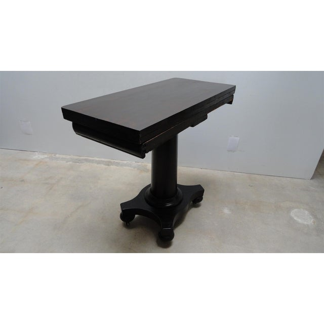American Classical Antique Ebonized Empire Game Table and Console For Sale - Image 3 of 11