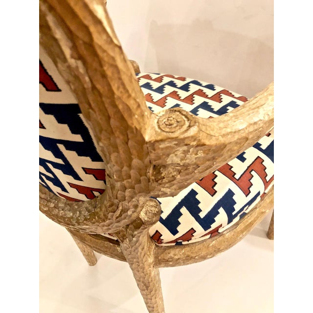 Carved Faux Bois Armchairs - Set of 6 For Sale In Los Angeles - Image 6 of 8