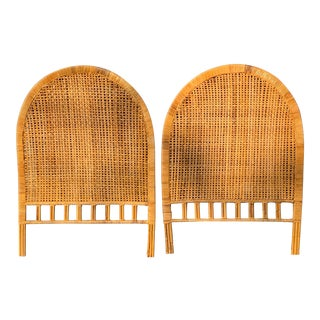 Boho Chic Wicker Rattan Cane Full Headboards - a Pair For Sale