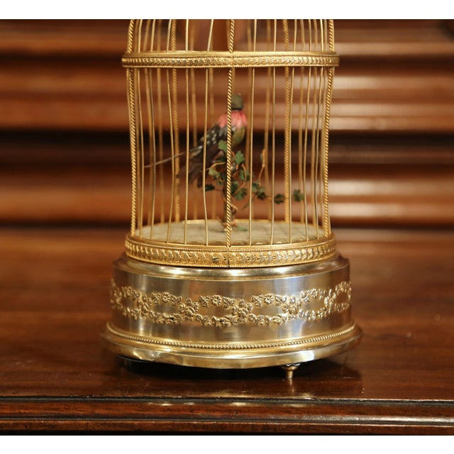 Brass 19th Century French Automaton Singing Bird in Brass Cage For Sale - Image 7 of 13