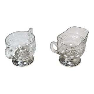 1950s Hand Cut Crystal & Sterling Silver Creamer & Sugar Set - a Pair For Sale