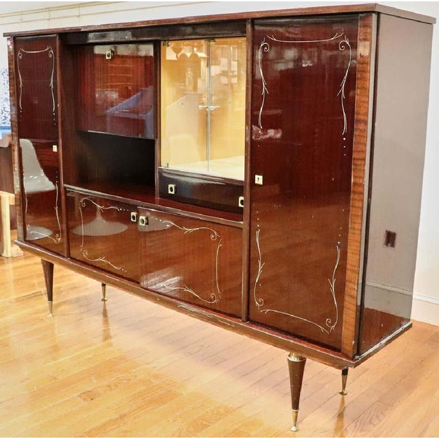 Large Mid-Century Modern Italian Mahogany China Cabinet Bar Manner of Gio Ponti For Sale - Image 13 of 13