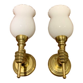 "French Art Deco ""Andre Arbus"" Solid Gilt Bronze Sconces 1940's - a Pair For Sale"