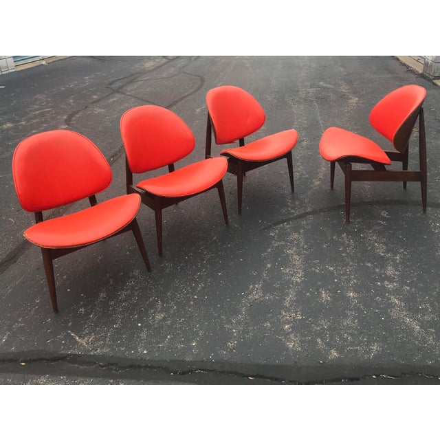 Orange Mid-Century Modern Kodawood Seymour Walnut Clam Chairs - Set of 4 For Sale - Image 8 of 8