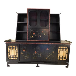 Vintage Asian James Mont Style Bar Cabinet For Sale