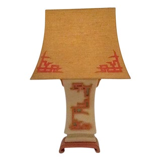 Mid-Century Ceramic Lamp with Custom Shade For Sale