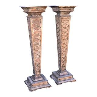 Pair of Tall Antique Architectural Italian Marble Top Column Pedestals For Sale