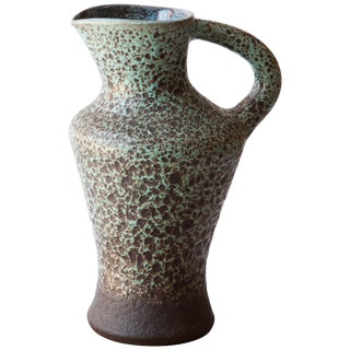 French 1960s Ceramic Turquoise Speckled Pitcher For Sale