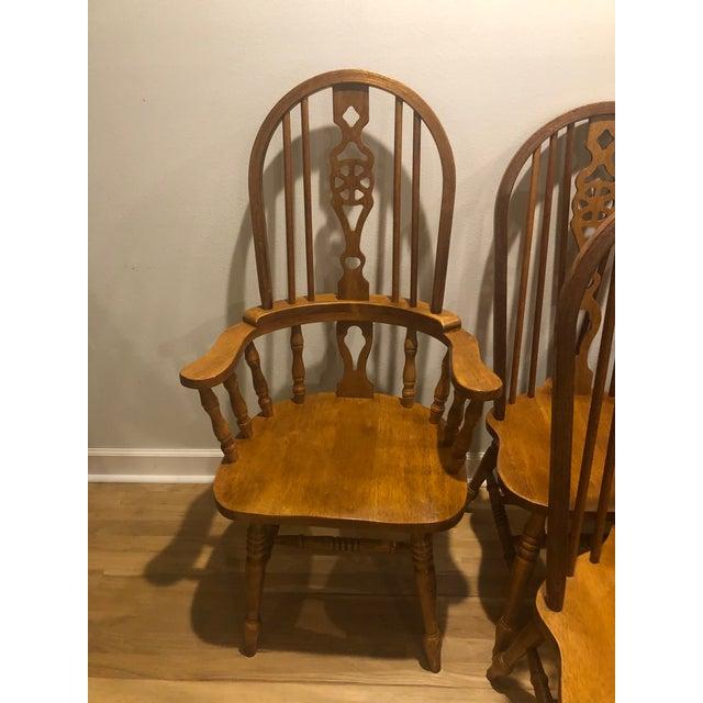 Vintage Oak Wheel Back Windsor Dining Chairs - Set of 8 For Sale - Image 4 of 13