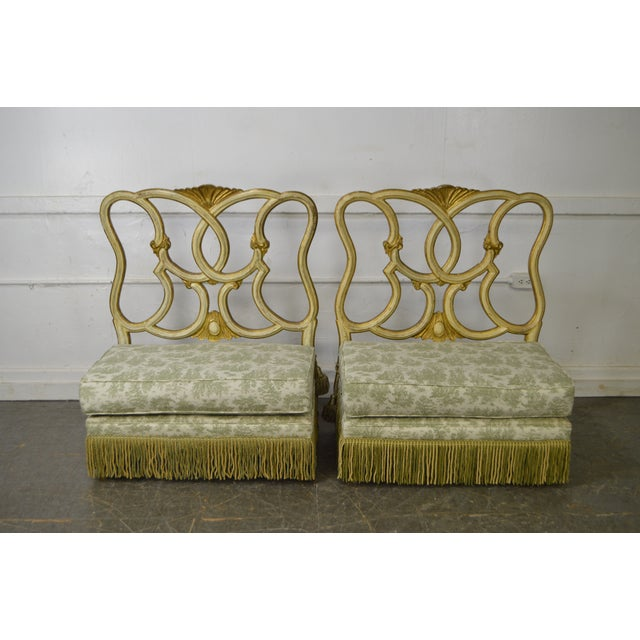Store Item #: 15462-fw Antique Italian Painted & Upholstered Pair of Foyer Settees Benches AGE/COUNTRY OF ORIGIN: Approx...