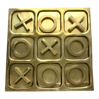 1970's Brass Tic Tac Toe Game - 11 Pieces For Sale