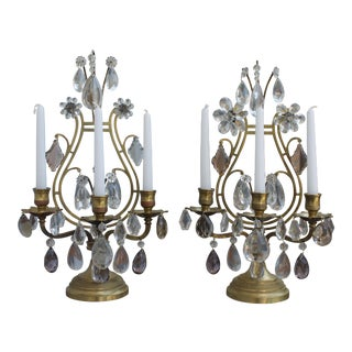 Late 19thc French Maison Bagues 3 Light Bronze Candle Candelabra/Girandoles - a Pair For Sale