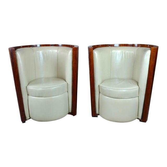Art Deco Fabulous Burl Walnut Barrel Chairs W/White Leather Seats-A Pair For Sale