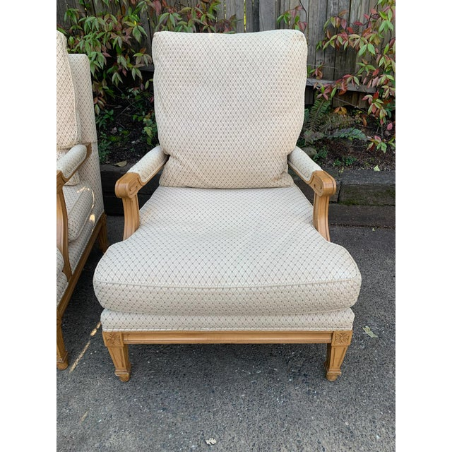 Nancy Corzine lounge chairs - fauteuil arm, traditional/neoclassical design. Late 2000 century in very good condition with...