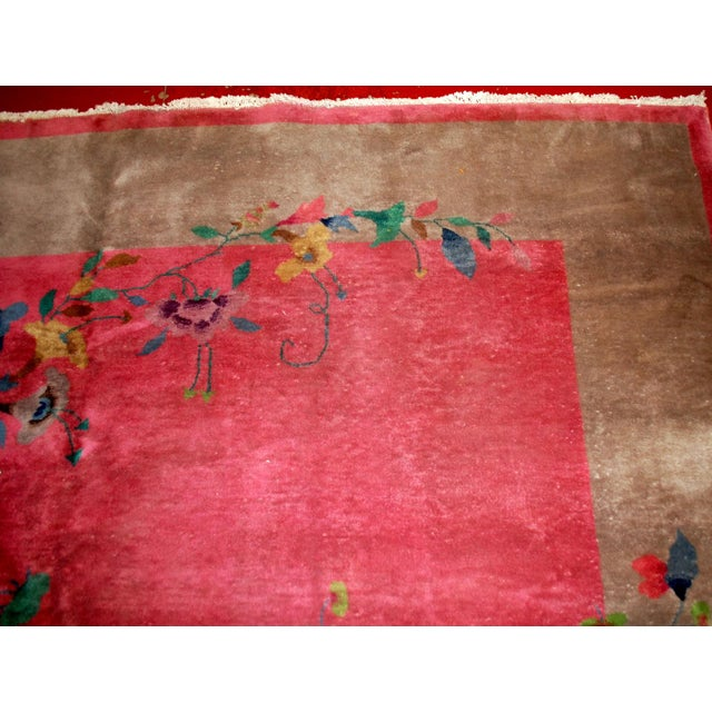 1920s Antique Art Deco Chinese Rug - 8′10″ × 11′8″ For Sale - Image 9 of 10