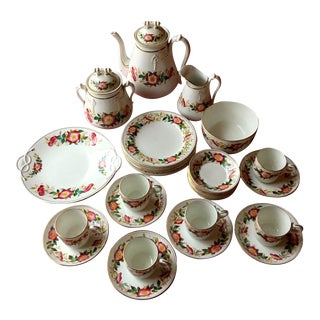 Late 19th Century Antique Exquisite English Dessert Set Primrose Pattern - Set of 30 For Sale