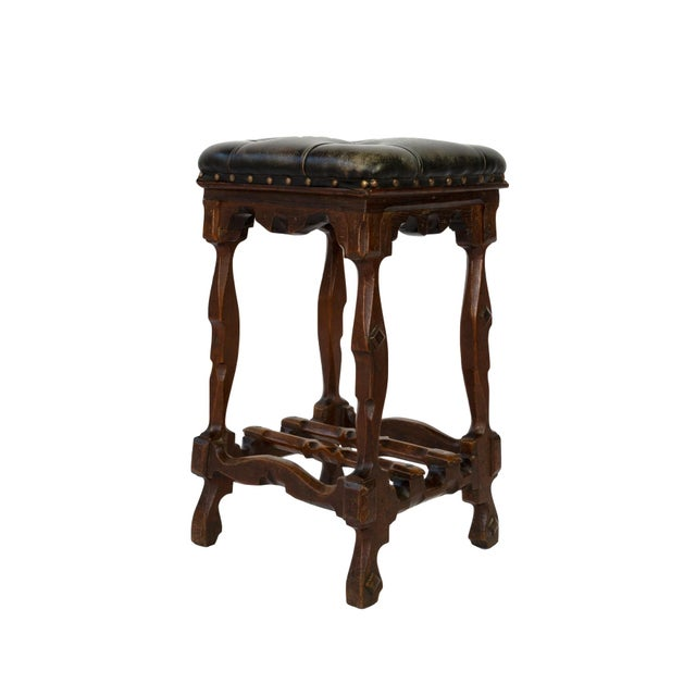 Arts and Crafts Period Square Stool Upholstered in Tufted Dark Leather, English, Circa 1880 For Sale - Image 11 of 11