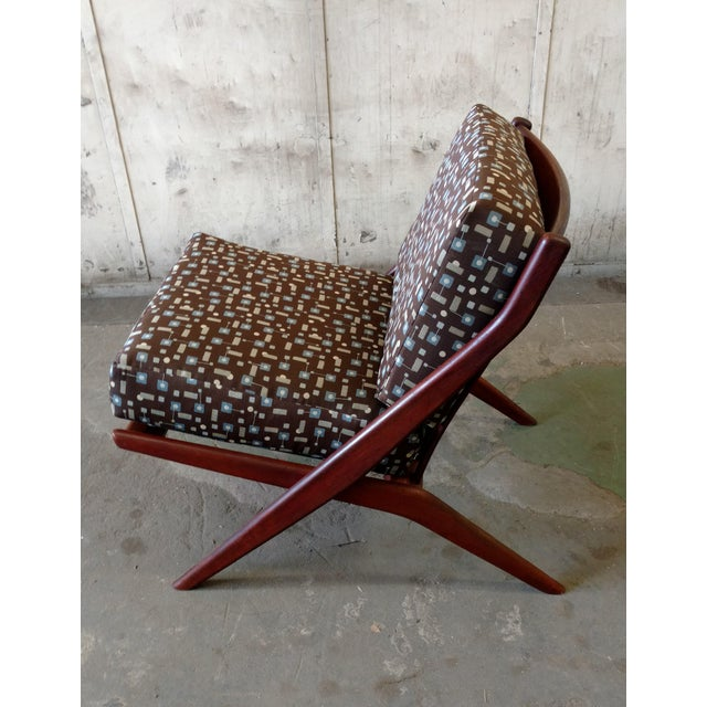 Fabric Teak Scissor Chair With Space Age Fabric by Folke Ohlsson for DUX For Sale - Image 7 of 11