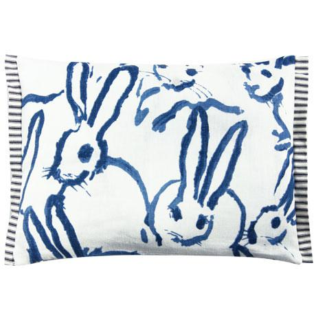 Bunny Fabric - Hutch Print Navy - Hunt Slonem - Lee Jofa - Groundworks - Lumbar pillow cover. This whimsical bunny printed...