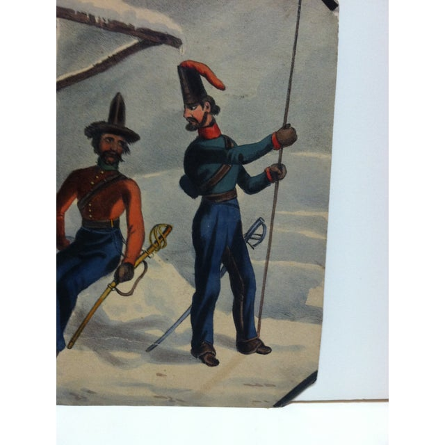 """Folk Art Mid 19th Century Antique """"At Rest"""" Hand-Colored Print For Sale - Image 3 of 5"""