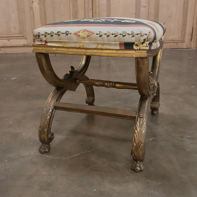 Gold 19th Century Giltwood Vanity Stool For Sale - Image 8 of 11