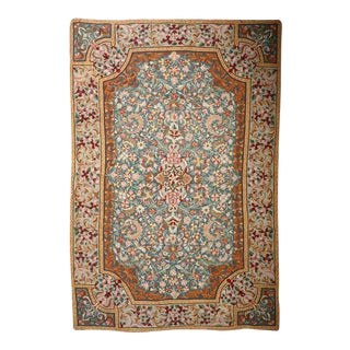 Handmade Chain Stitch Embroidery Rug - 4′ × 6′ For Sale