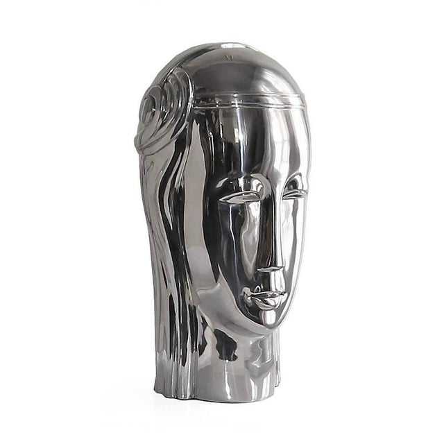 Art Deco Inspired Stainless Steel Bust of Roman Goddess This Art Deco inspired bust take the form of a Roman goddess and...