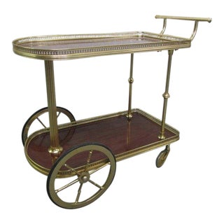 French Bronze Rolling Bar Cart For Sale