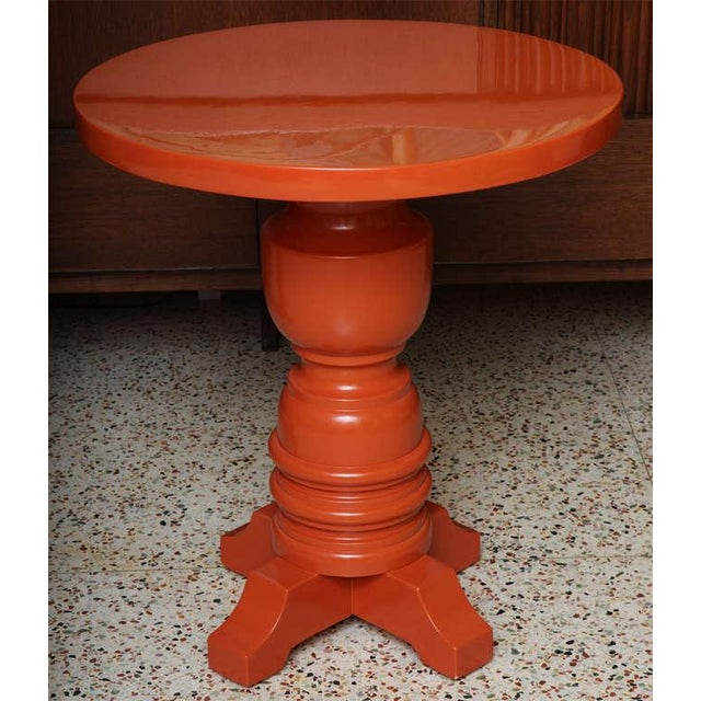 Architectural Mid Century Modern Side Tables, Orange Lacquered 1960s. - Image 9 of 11
