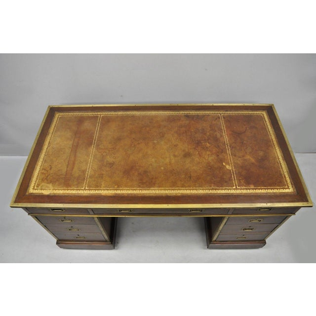 19th Century Campaign Mahogany Partner Desk For Sale - Image 4 of 13