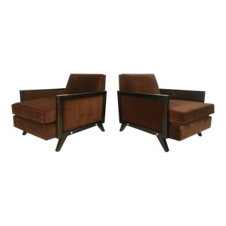 Pair of Mid-Century Modern Upholstered Lounge Chairs For Sale