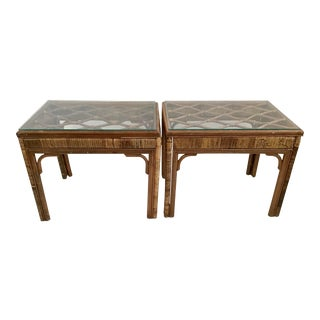 Vintage Ficks Reed Side Tables - a Pair For Sale